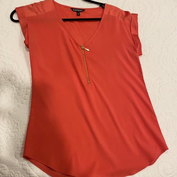 Half zipper coral shirt